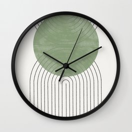 Green Moon Shape Wall Clock