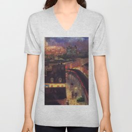Classical Masterpiece 'The City from Greenwich Village' New York City by John French Sloan Unisex V-Neck