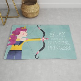 Slay Your Own Dragons, Princess Fierce Female Bow and Arrow Archery Art Rug
