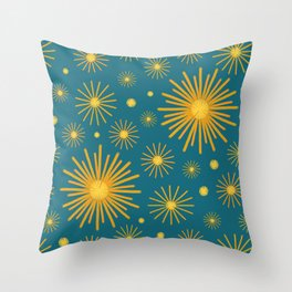 Abstract Hand-painted Golden Fireworks, Vintage Festive Pattern with Beautiful Acrylic Texture, Gold and Blue Teal Color Throw Pillow