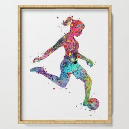 Girl Soccer Player Watercolor Sports Art Serving Tray