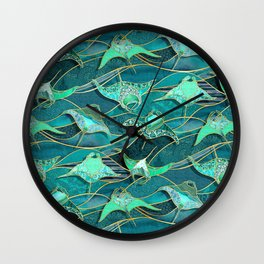 Patchwork Manta Rays in Jade and Emerald Green Wall Clock