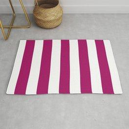 Jazzberry jam violet - solid color - white vertical lines pattern Rug