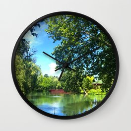 Serene Pond Landscape Wall Clock