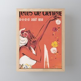placard fetes de geneve 10 11 12 13 aout 1956 femme Framed Mini Art Print