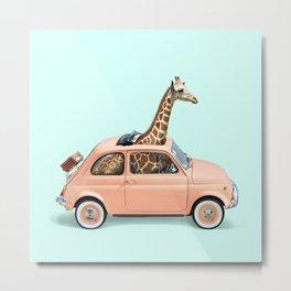 GIRAFFE CAR Metal Print