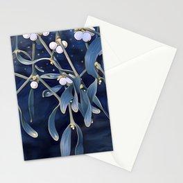 Mistletoe in blue Stationery Cards