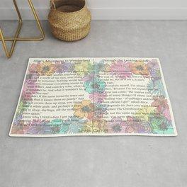 Alice in Wonderland, Adventures in Wonderland, Through the Looking Glass garden flowers Rug