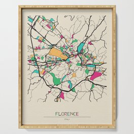 Colorful City Maps: Florence, Italy Serving Tray