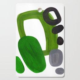 Mid Century Vintage 70's Design Abstract Minimalist Colorful Pop Art Olive Green Dark Green Grey Cutting Board
