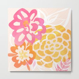 Summer Floral / Pink and Gold Metal Print