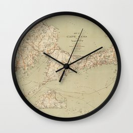 Beautiful 1909 Vintage Map of Cape Cod Wall Clock