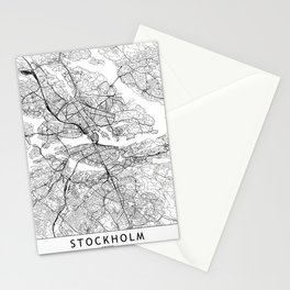 Stockholm White Map Stationery Cards