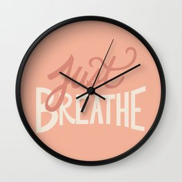 Just Breathe Hand Lettering - Peach Wall Clock