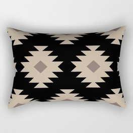 Southwestern Pattern 521 Black and Beige Rectangular Pillow