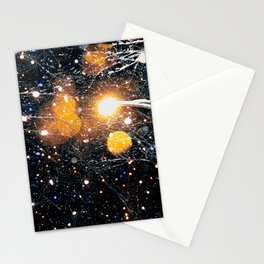 Snow fireflies fly under streetlamp in winter storms Stationery Cards