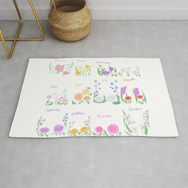 Birthday Month Flowers Rug