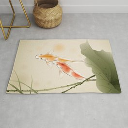 Koi fishes in lotus pond Rug