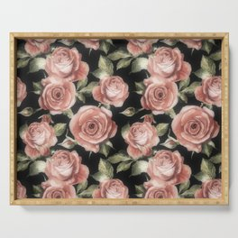 Classic Pink Roses On Black Serving Tray