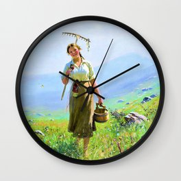 Hans Dahlr - A young woman in the meadow - Digital Remastered Edition Wall Clock