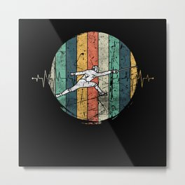 Fencer Heartbeat Vintage Metal Print