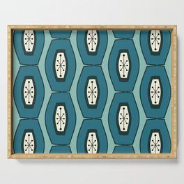 Midcentury Funky Chain Pattern Turquoise Teal Serving Tray