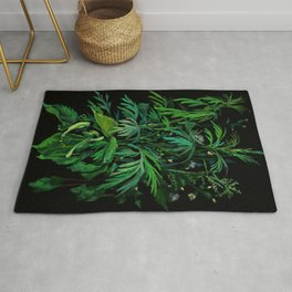 Summer Greenery, Green & Black, Floral Painting Rug