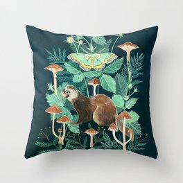 Ferret and Moth Throw Pillow