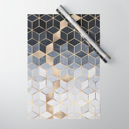 Soft Blue Gradient Cubes Wrapping Paper