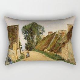 Village Street Auvers Sur Oise 1873 By Camille Pissarro   Reproduction   Impressionism Painter Rectangular Pillow