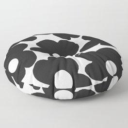 Black Retro Flowers White Background #decor #society6 #buyart Floor Pillow