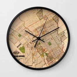 Map Of San Jose 1886 Wall Clock
