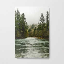Wanderlust Forest River - Mountain Adventure in Foggy Woods Metal Print