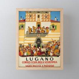 retro poster corteo festa della vendemmia lugano fete des vendanges Framed Mini Art Print