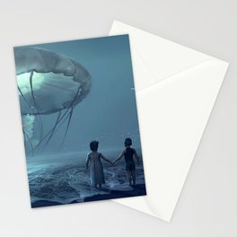 Portrait of Siblings on the beach with giant jellyfish magical realism portrait Stationery Cards