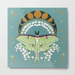 Luna Moth Art Nouveau Metal Print