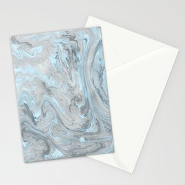 Ice Blue and Gray Marble Stationery Cards