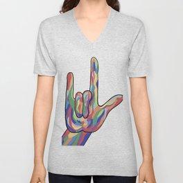 ASL I Love You Muted Tones Unisex V-Neck