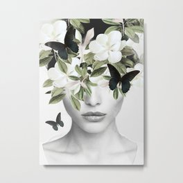 Woman With Flowers and Butterflies 3 Metal Print