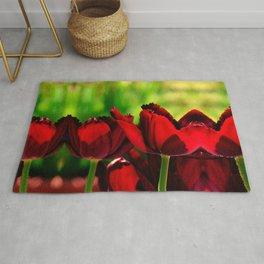 4 Ever Love -- Spring Botanical Ruby Red Tulips Rug