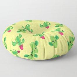 Cactus Smile Desert Pattern Summer Background Floor Pillow
