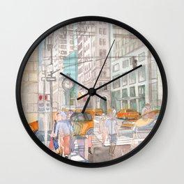 Reflection in the New York City windows II Wall Clock