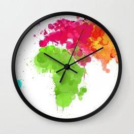 World map ink droplets splash  Wall Clock