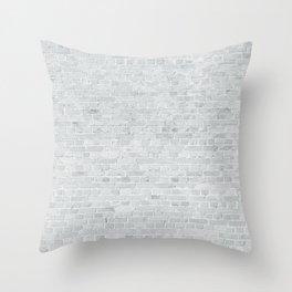 White Washed Brick Wall Stone Cladding Throw Pillow