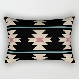 Southwestern Pattern 134 Black Burgundy Beige and Teal Green Rectangular Pillow