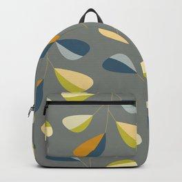 Mid Century Modern Graphic Leaves Pattern 3. dark grey Backpack
