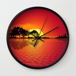 Nature Guitar Sunset Wall Clock