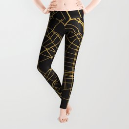 BUENOS AIRES ARGENTINA GOLD ON BLACK CITY MAP Leggings