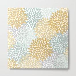 Floral Prints, Yellow Art, With Aqua, Gray, Modern Print Art Metal Print