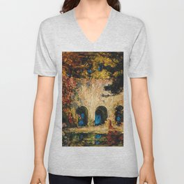 Romantic Parisian Floral Enchanted Garden Scene, Solitary Thoughts by Thomas Edwin Mostyn Unisex V-Neck
